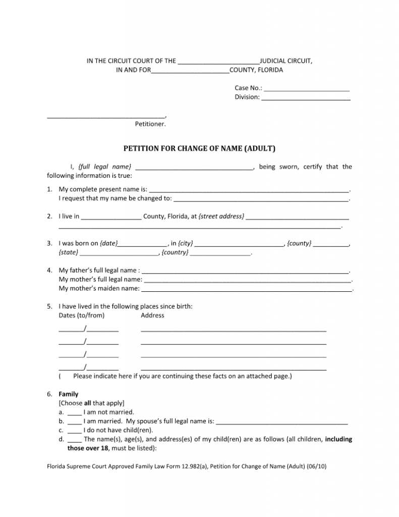 Download Free Florida Adult Petition For Change Of Name 12 982-a