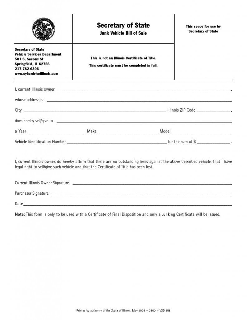 Bill Of Sale Illinois >> Download Free Illinois Junk Vehicle Bill Of Sale Form Form
