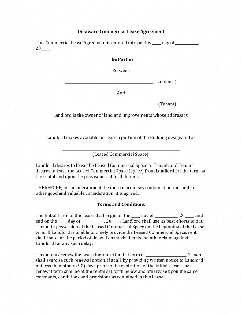 Download Free Delaware Commercial Lease Agreement Form