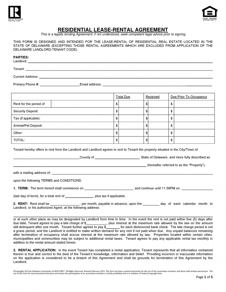 Download Free Delaware Residential Lease Agreement Form
