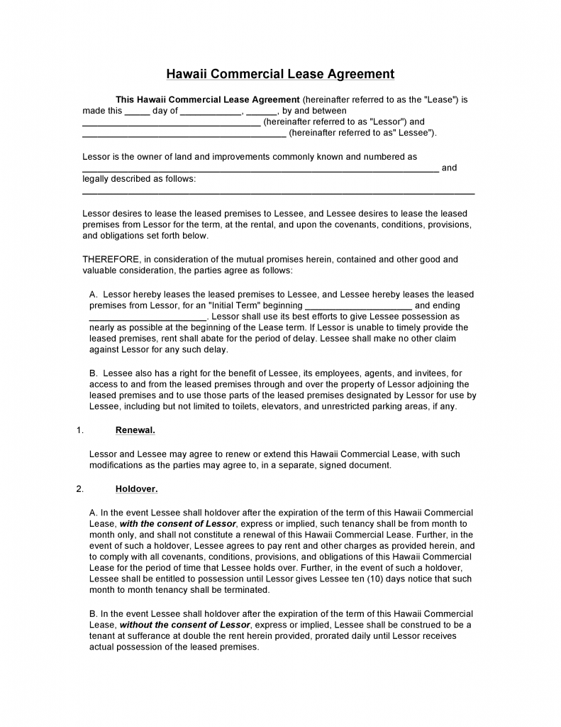 Download Free Hawaii Commercial Lease Agreement Form Download