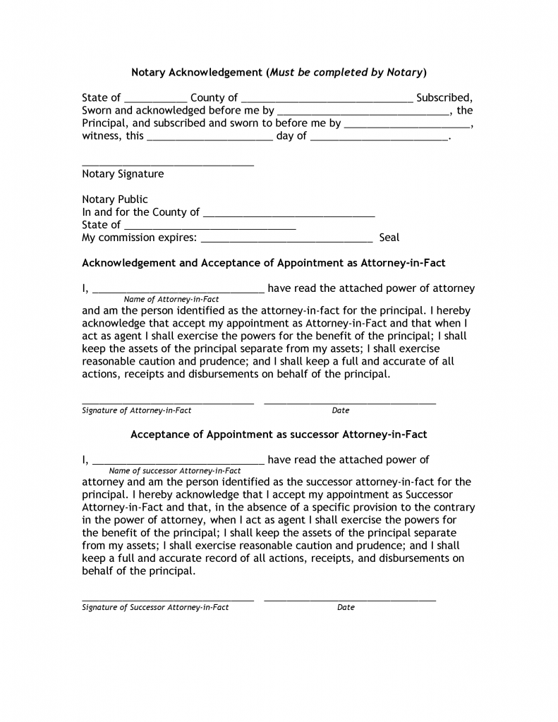 Power of Attorney Notary Public Form