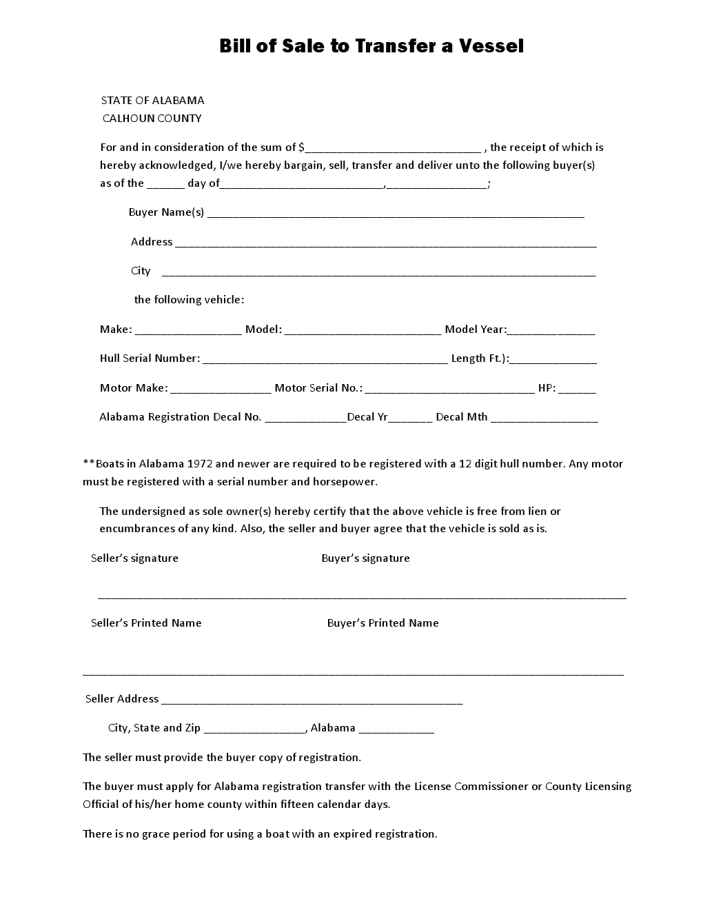 Calhoun County Vessel Bill Of Form