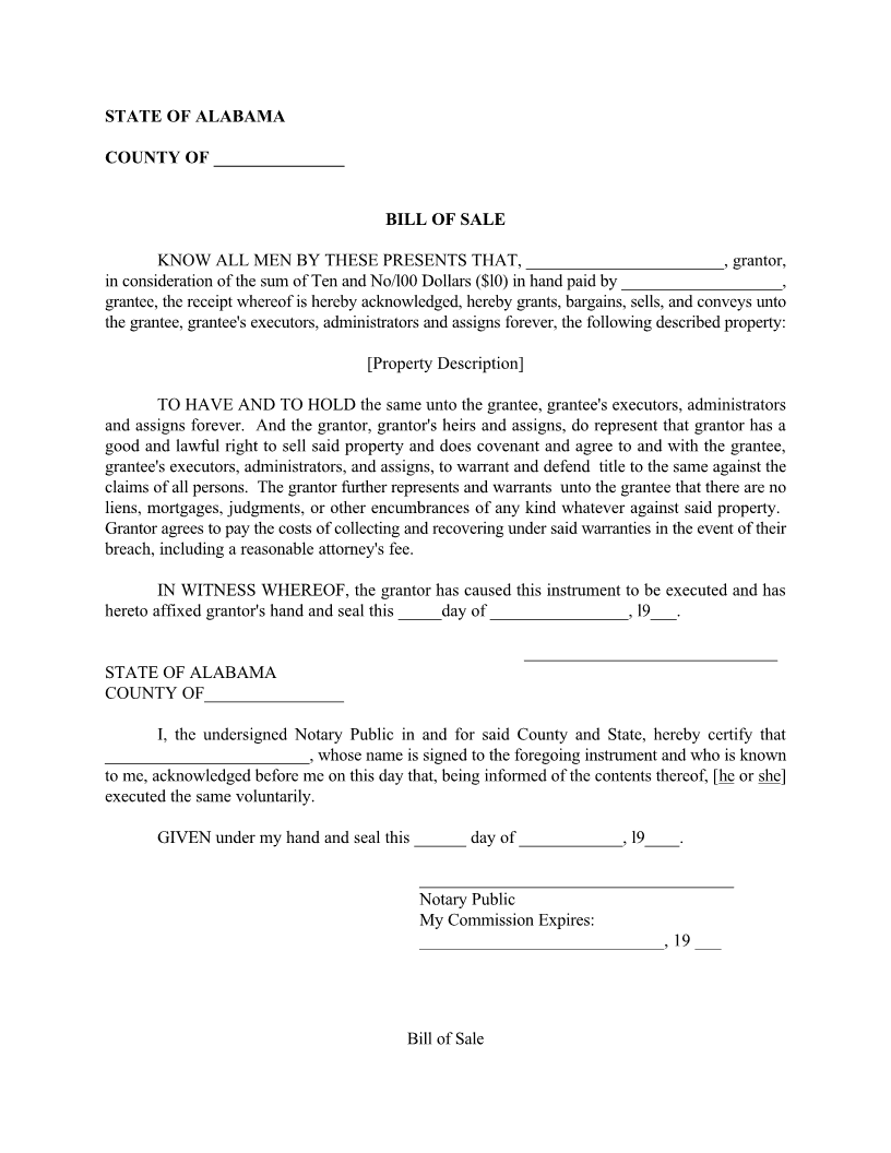 Alabama Generic Bill of Sale Form