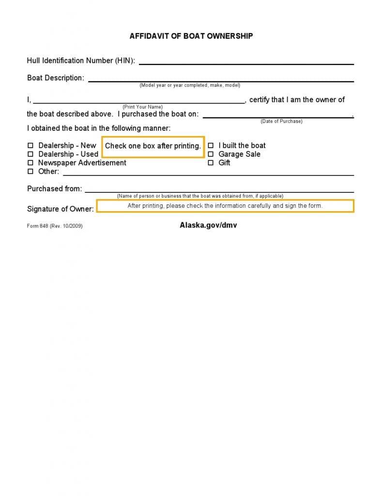Alaska Affidavit of Boat Ownership