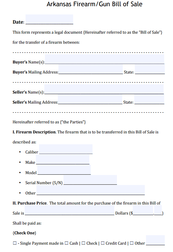 Arkansas Firearm Bill Of Sale Form