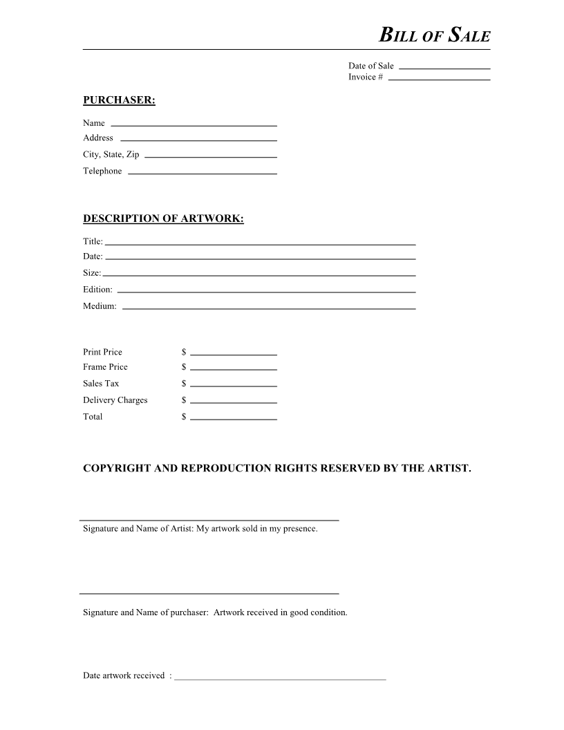 Artwork Bill of Sale Form