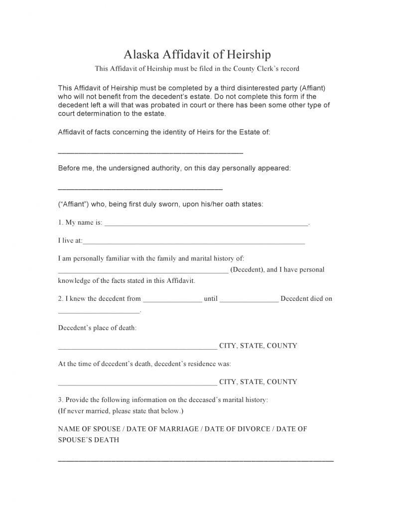 Alaska Affidavit Of Heirship Form