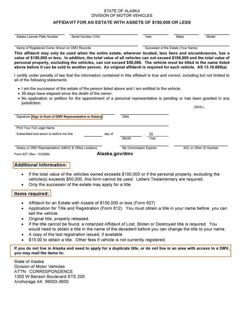 Download Free Alaska DMV Small Estate Affidavit Form 827