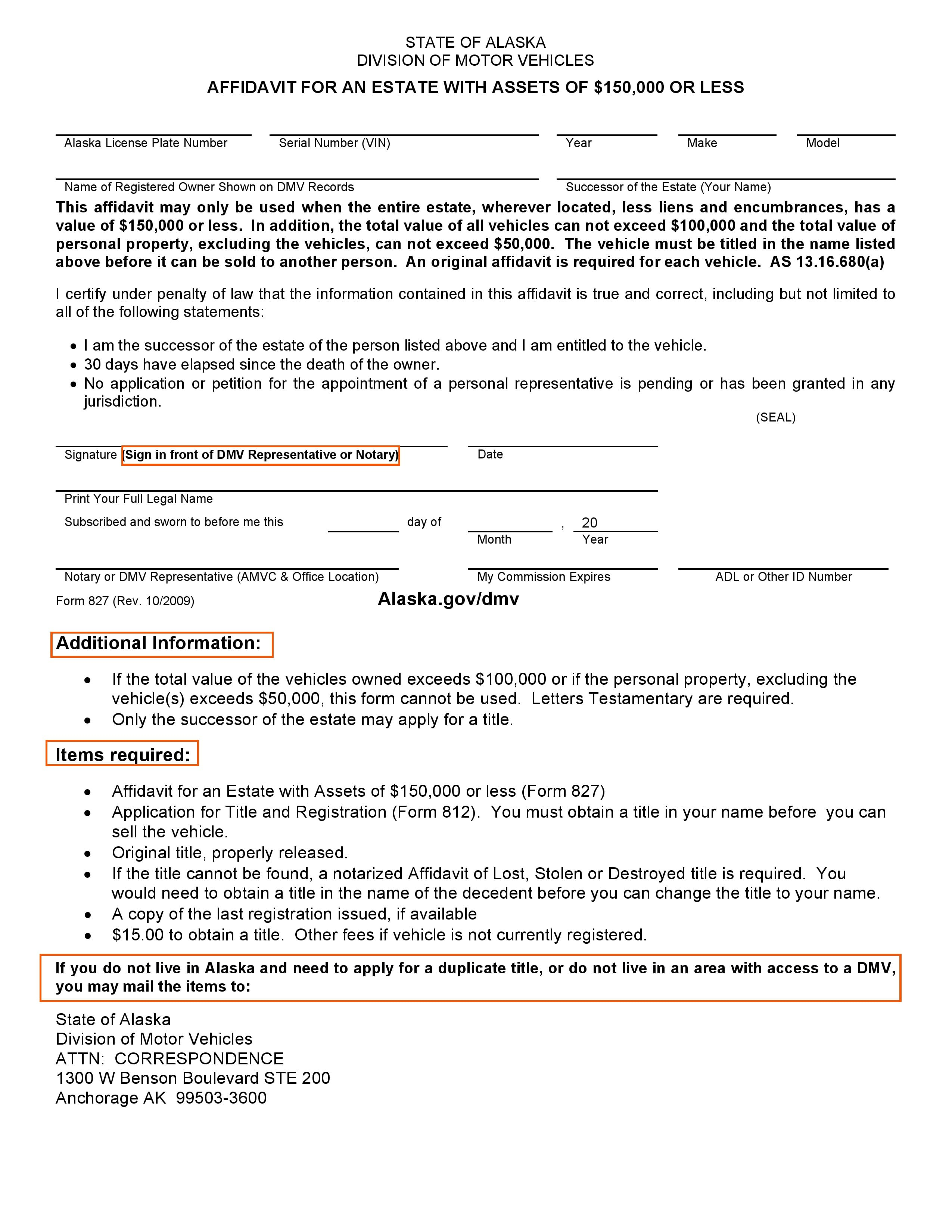 Alaska DMV Small Estate Affidavit Form 827