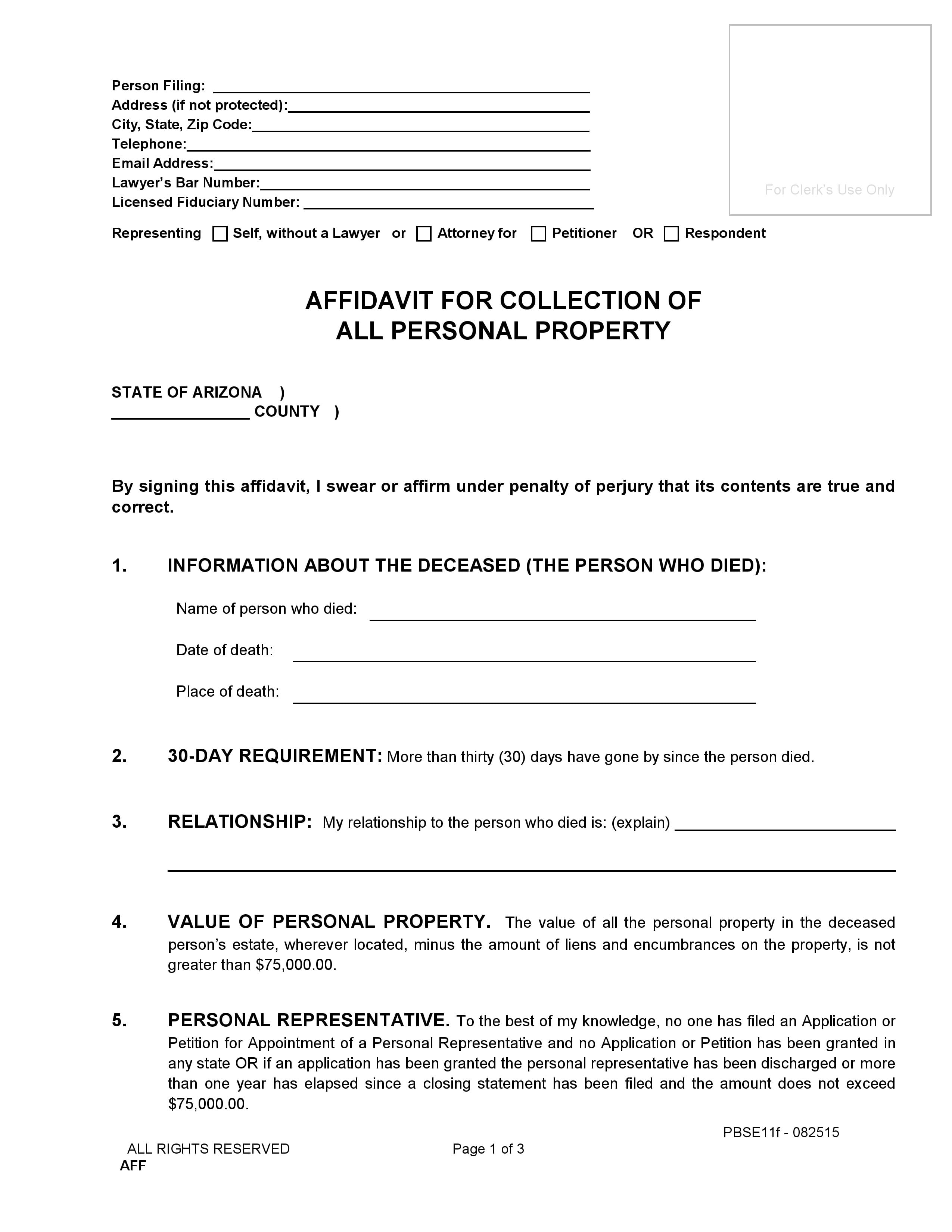Arizona Small Estate Affidavit Of Personal Property