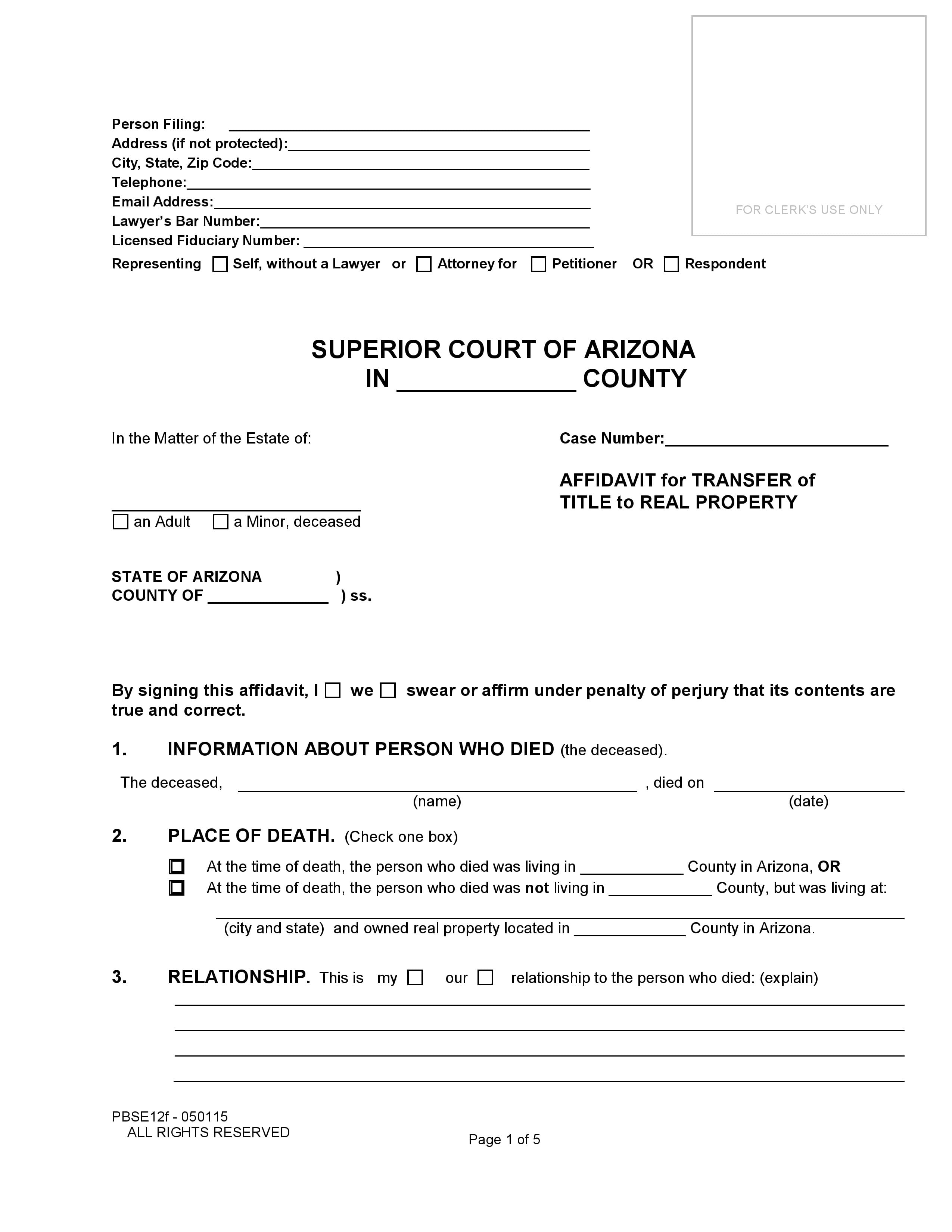 Arizona Small Estate Affidavit Of Real Estate