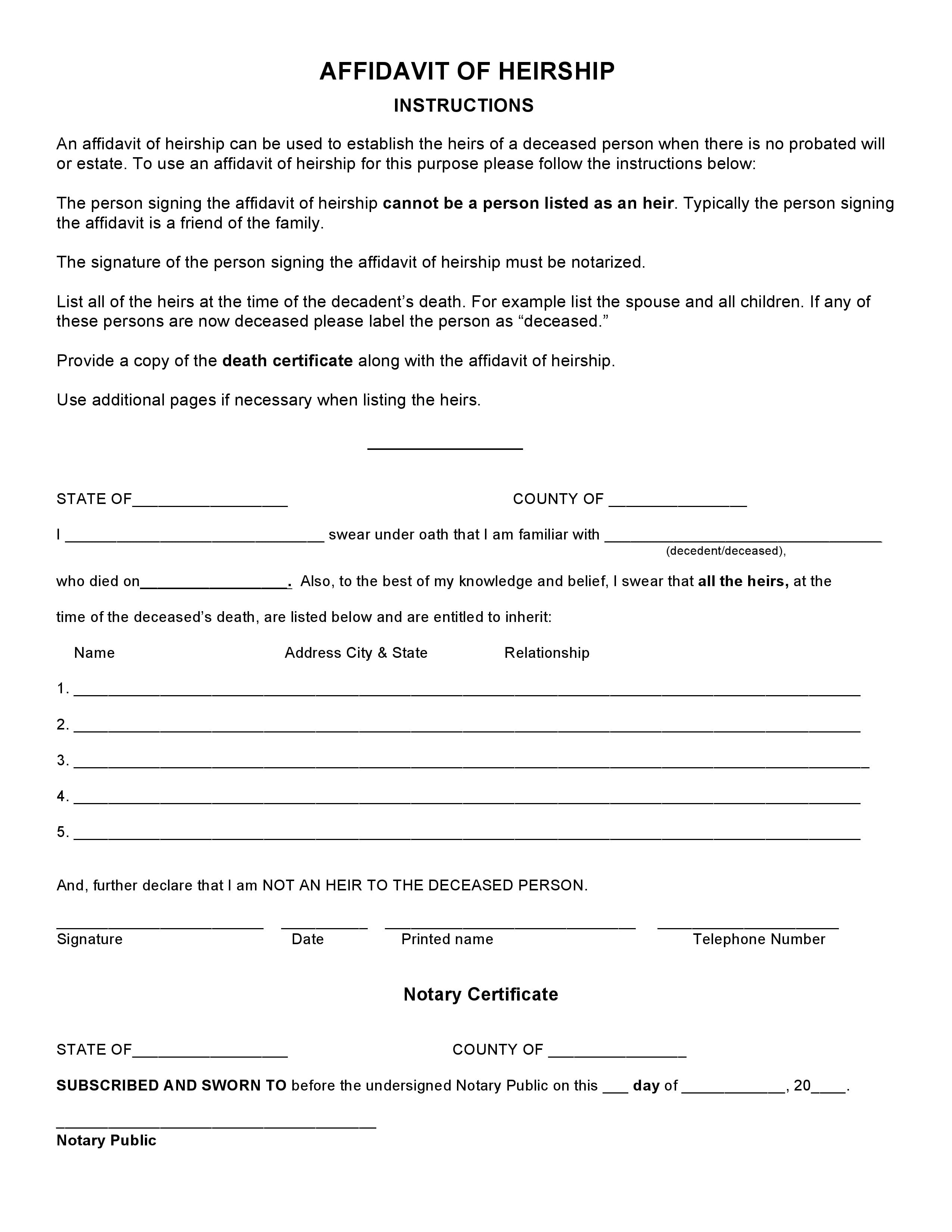 Arkansas Affidavit Of Heirship Forms