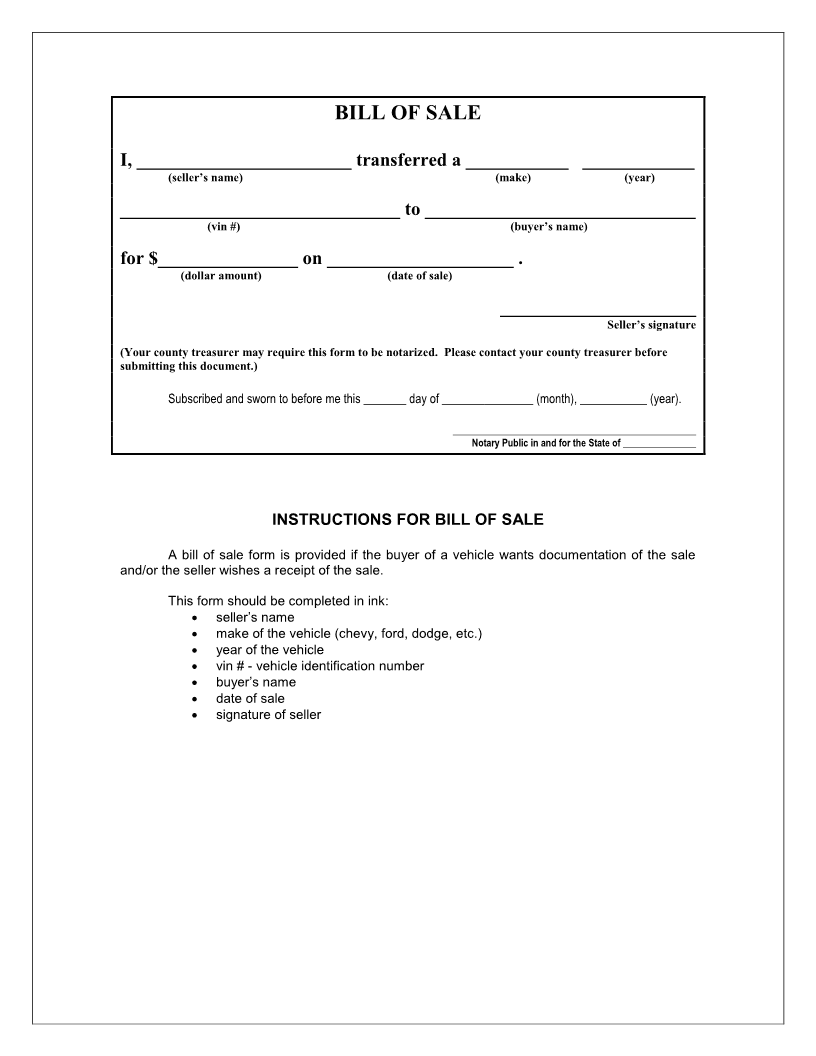Iowa Bill of Sale Form