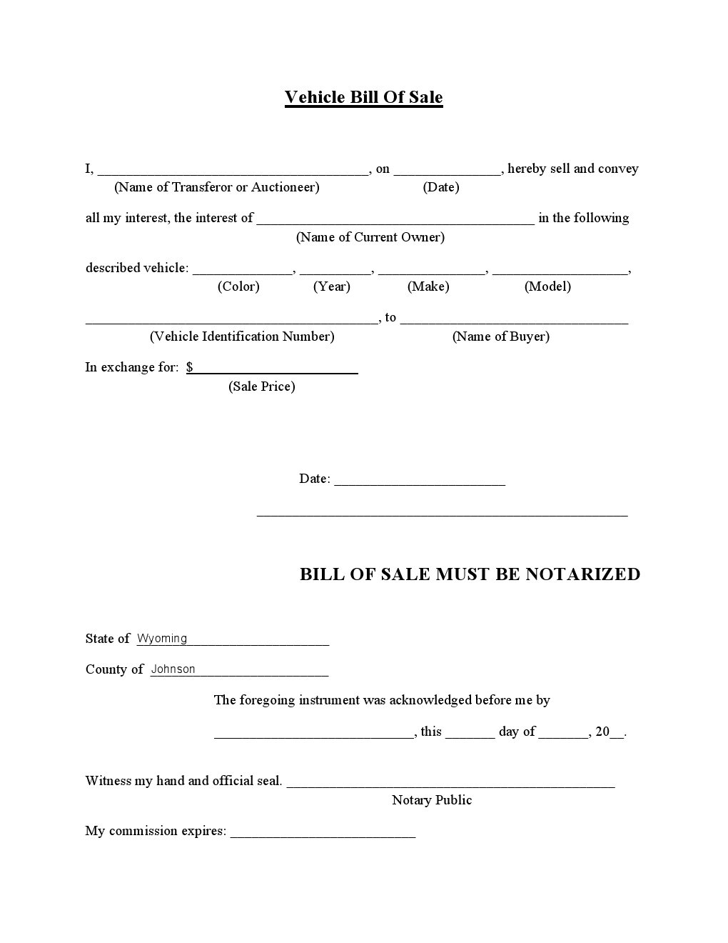 Johnson Country, Vehicle Bill of Sale