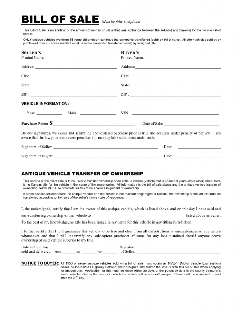 Kansas Vehicle Bill of Sale Form