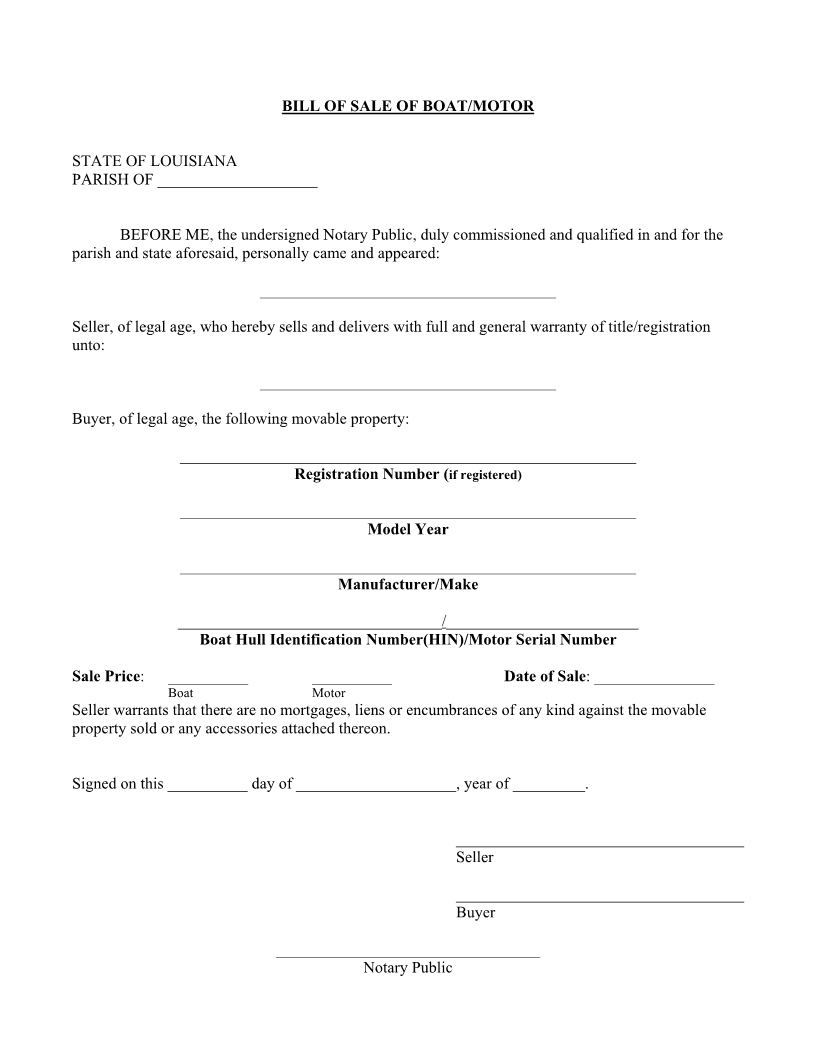 Louisiana Boat Bill of Sale Form