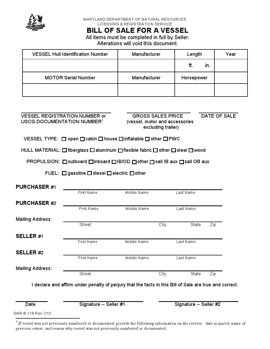 Maryland Vessel Bill of Sale