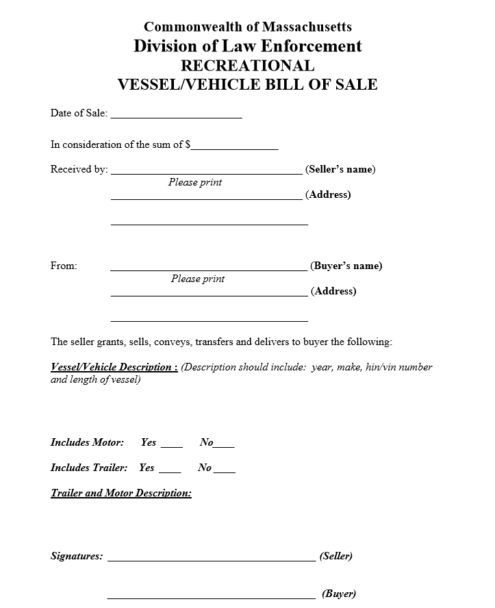 Massachusetts Recreational Vessel Vehicle Bill of Sale Form