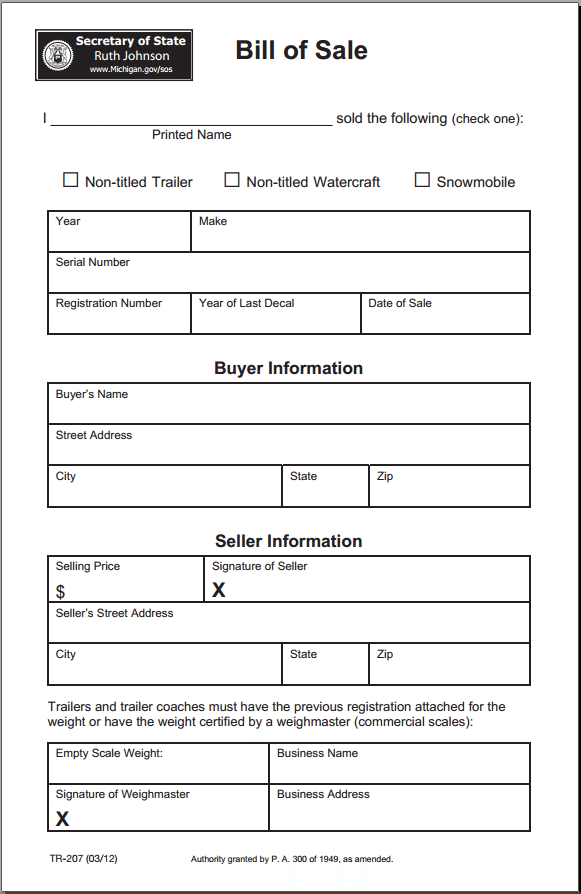 Michigan Bill of Sale Form