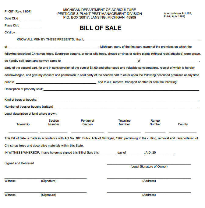Michigan Plant Bill of Sale Form