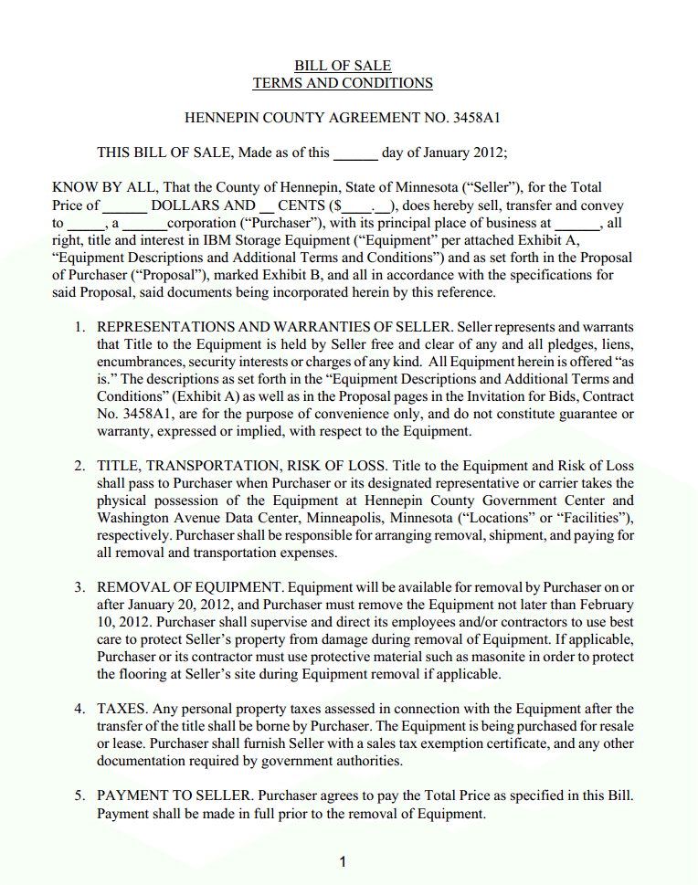 Minnesota IBM Storage Equipment Bill Of Sale Form