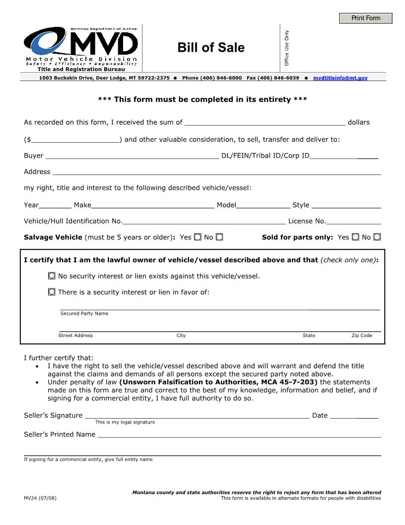 Montana Vehicle Bill of Sale Form