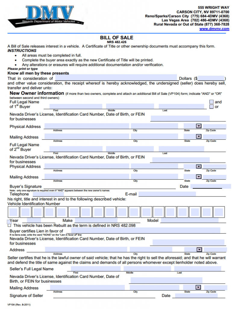 Download Free Nevada Motor Vehicle Bill Of Sale Form Form Download