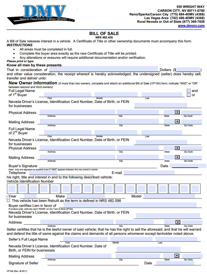 Nevada Motor Vehicle Bill of Sale