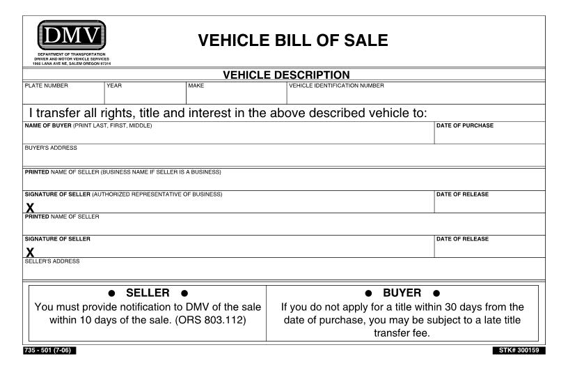download free oregon vehicle bill of sale form