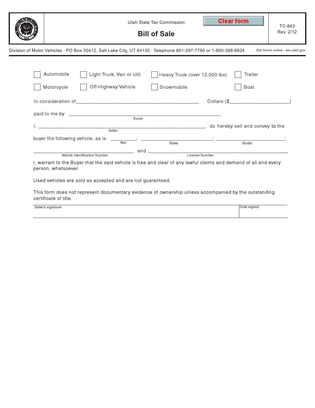 Download Free Utah Bill Of Sale Form Tc 843 Form Download Utah automobile bill of sale