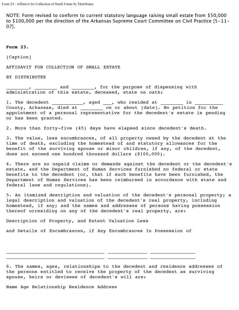 Arkansas Form 23 Affidavit For Collection Of Small Estate By Distributee