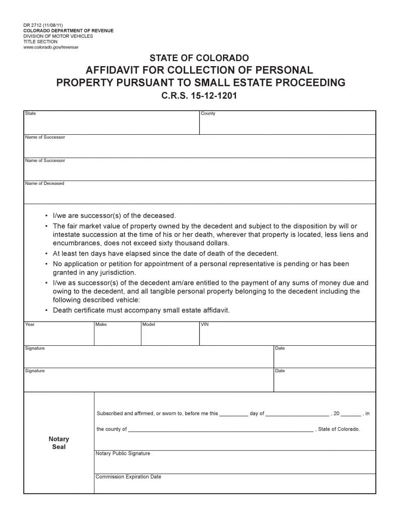 Colorado Small Estate Affidavit Form Dr2712