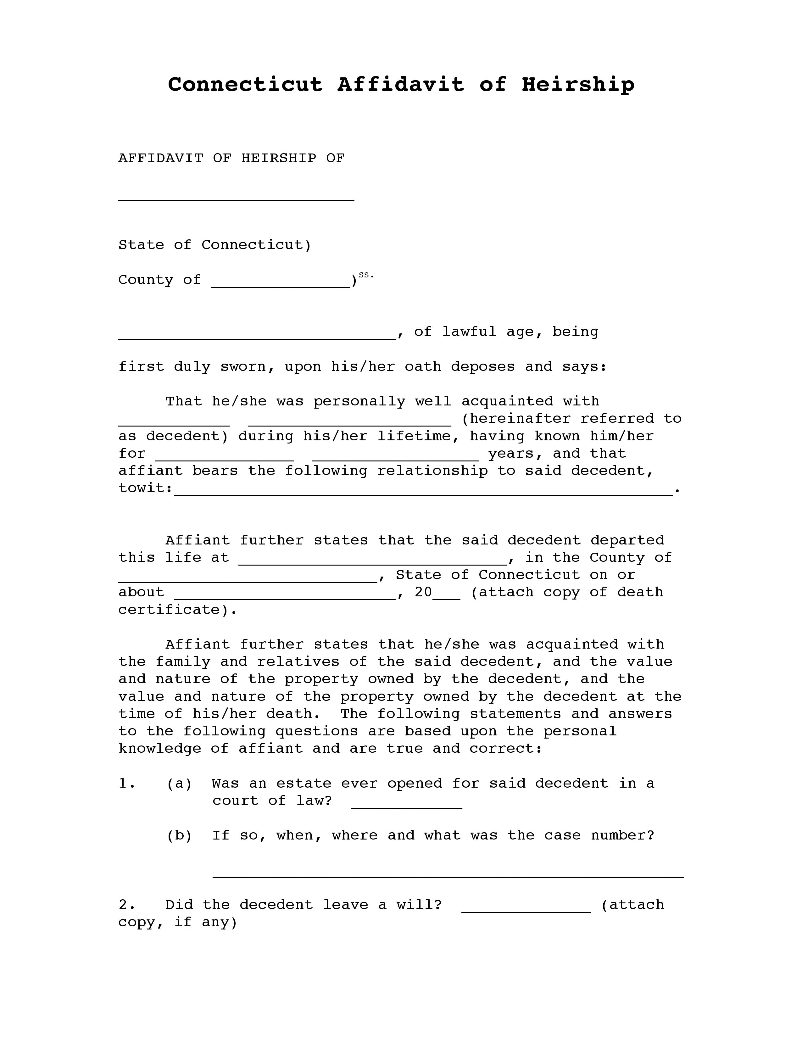 Connecticut Affidavit Of Heirship