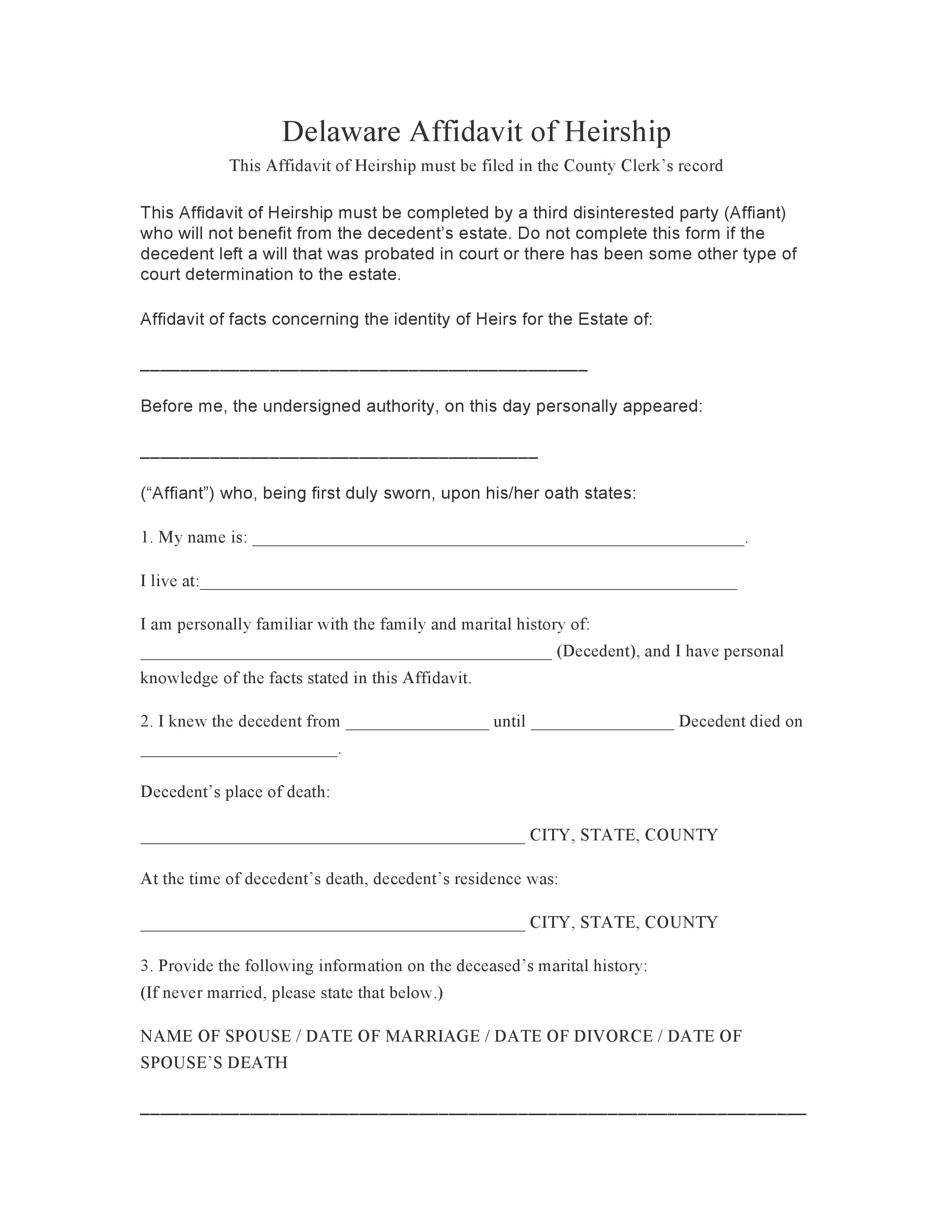 Delaware Affidavit Of Heirship Form
