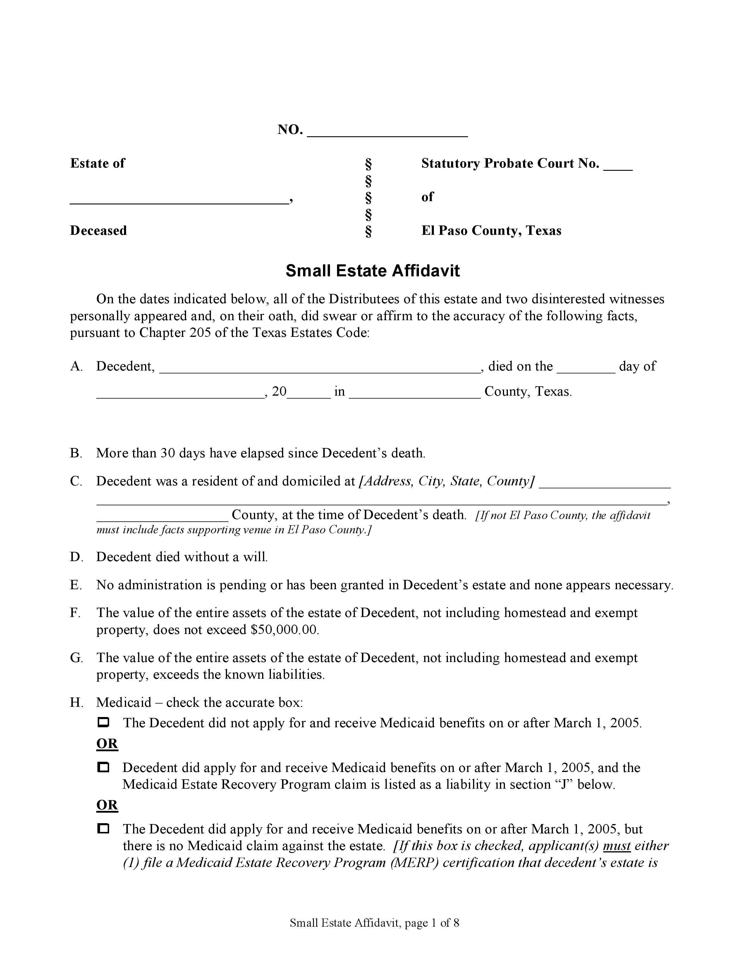 El Paso County Texas Small Estate Affidavit Form