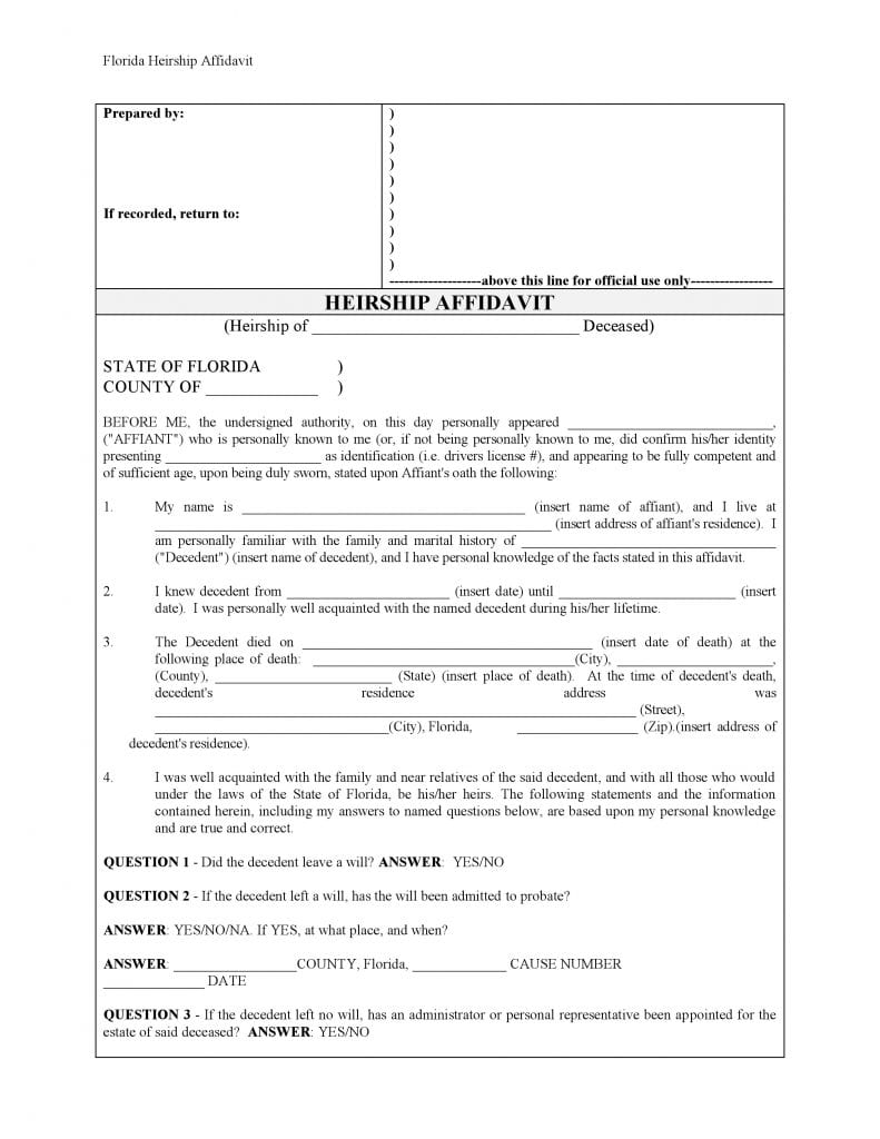 Florida Affidavit Of Heirship