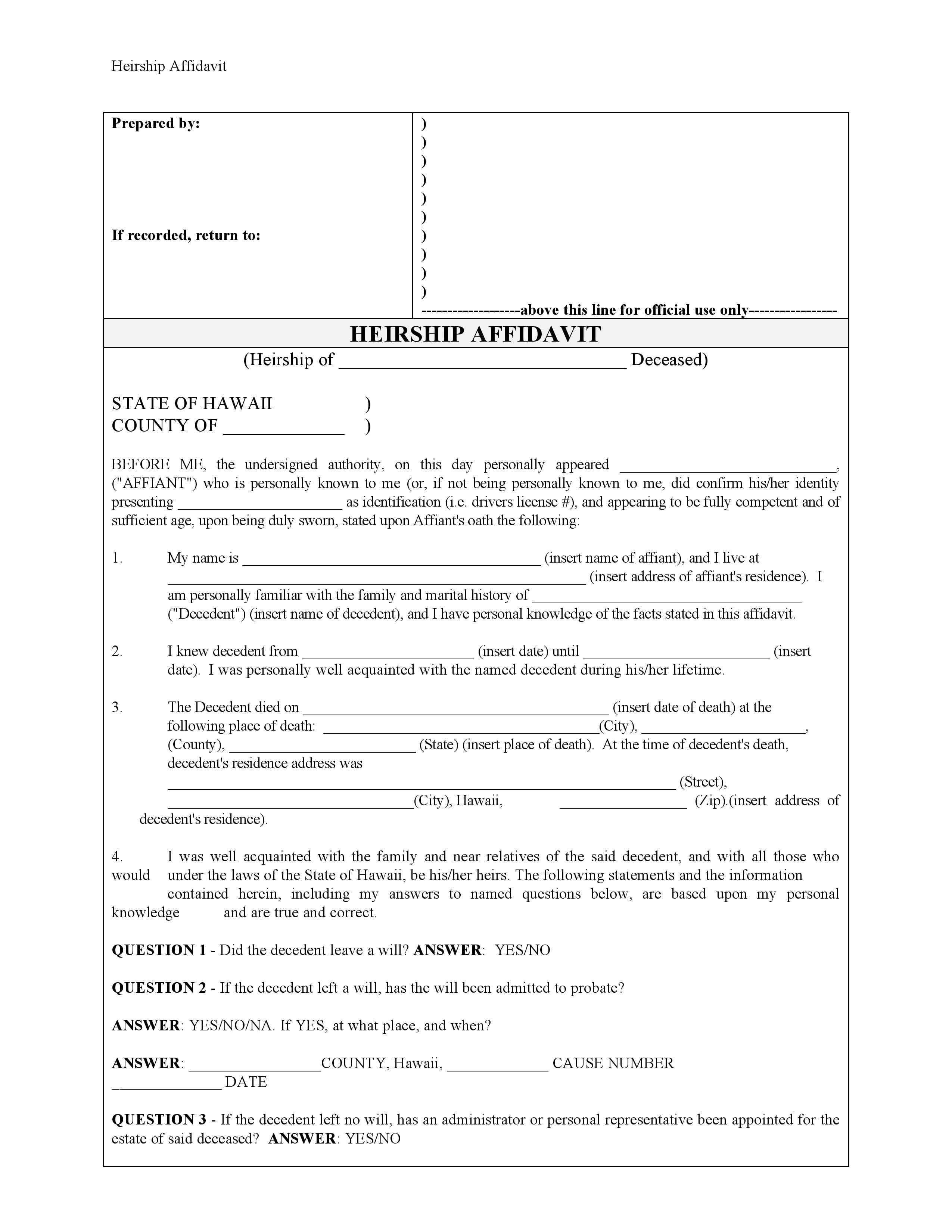 Hawaii Affidavit Of Heirship