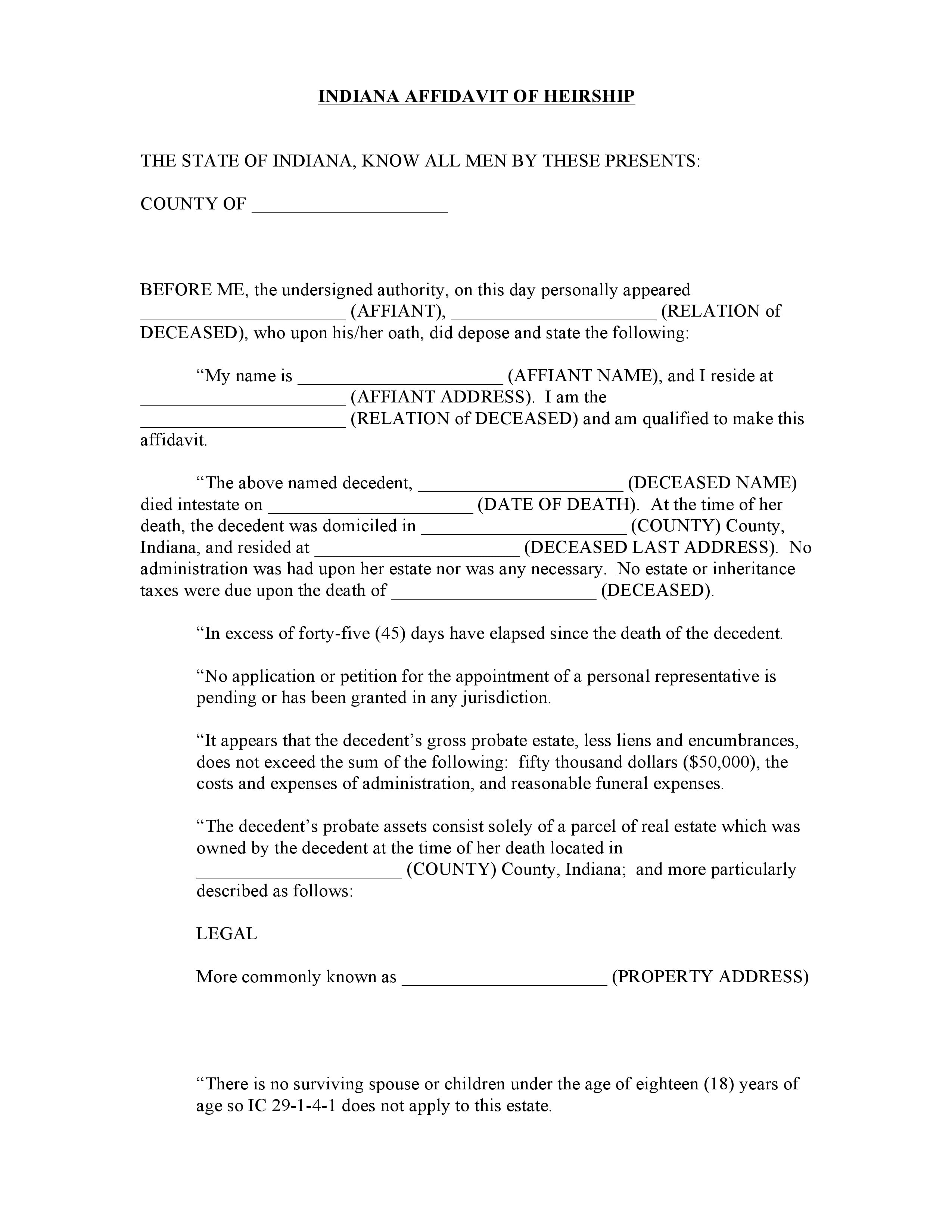 Indiana Affidavit Of Heirship