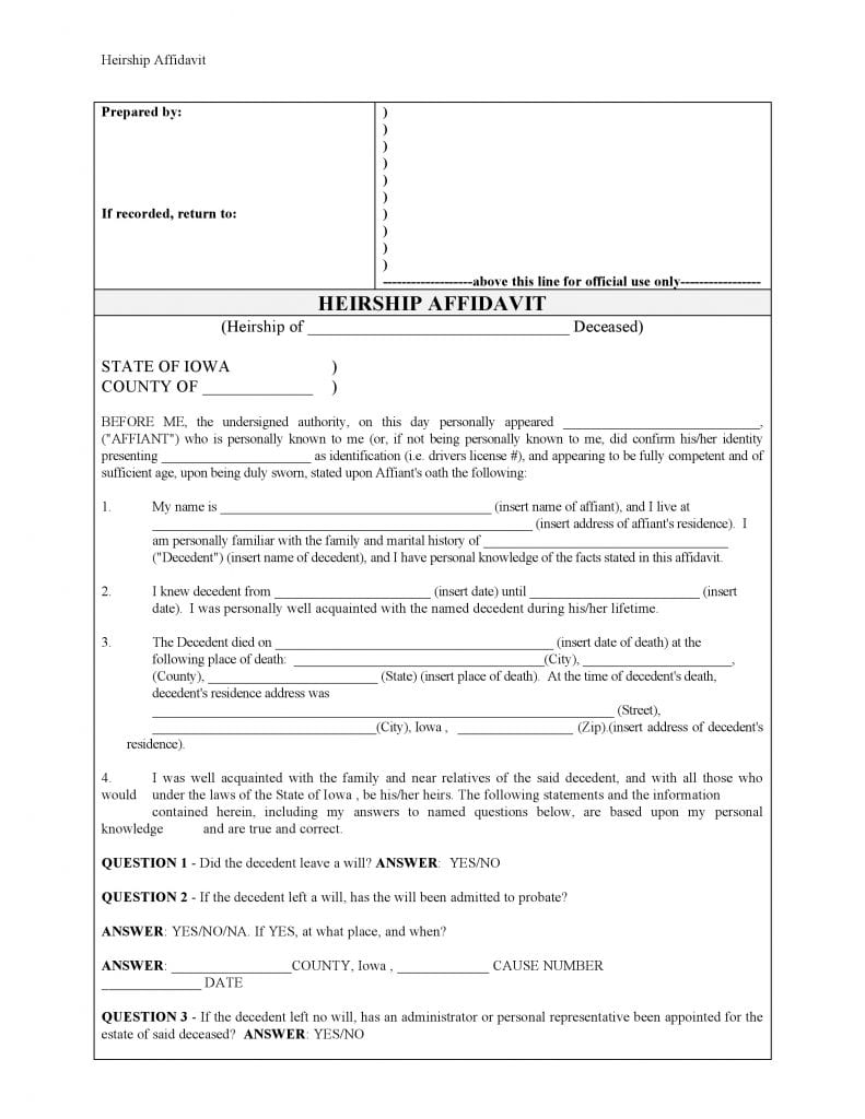 Iowa Affidavit Of Heirship