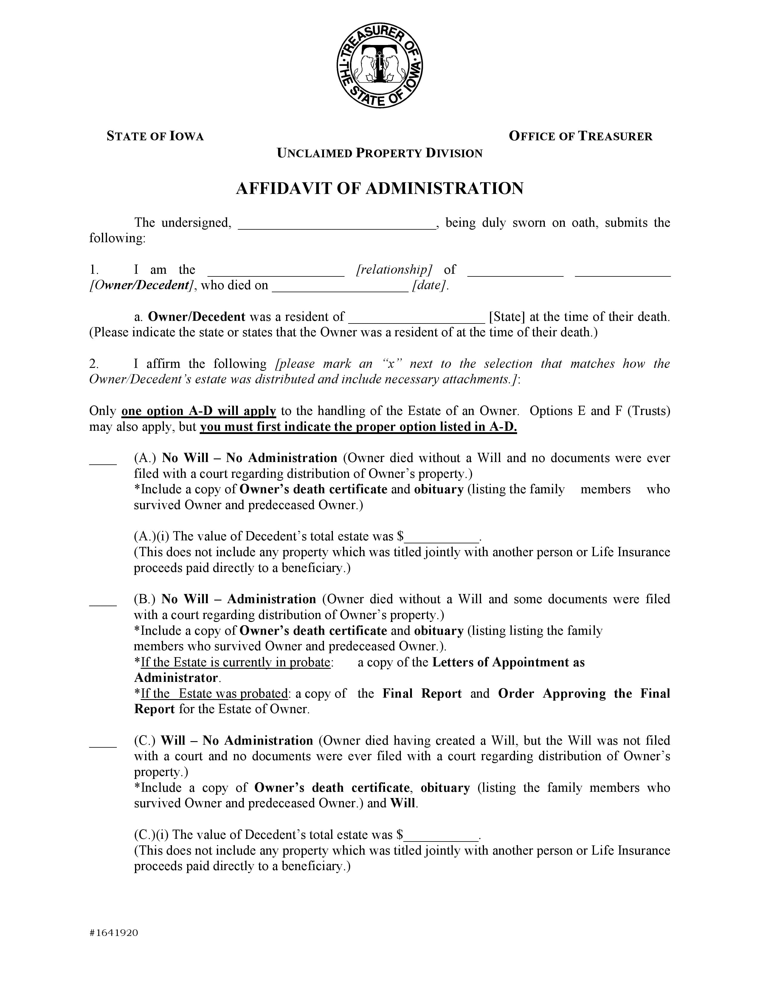 Iowa Small Estate Affidavit
