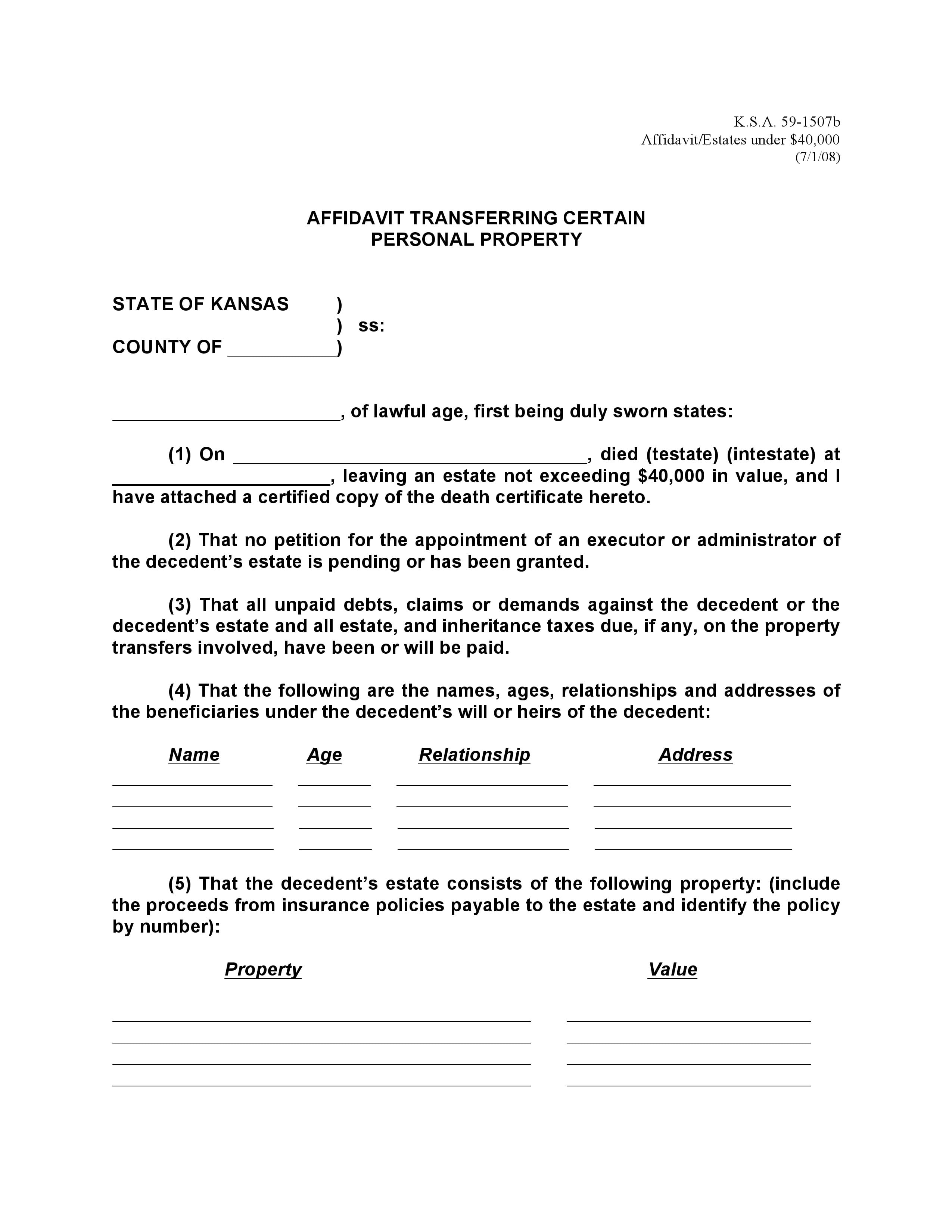 Kansas Small Estate Affidavit